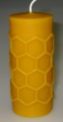 Candle with beekeeper motif