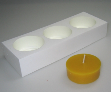 Tealight mould for 3 BIG-tealights (smooth surface)