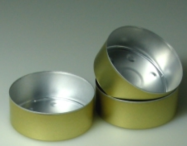 300 golden Alu bowls MAXI 59 mm diameter (Alu-gross-300-GOLD)