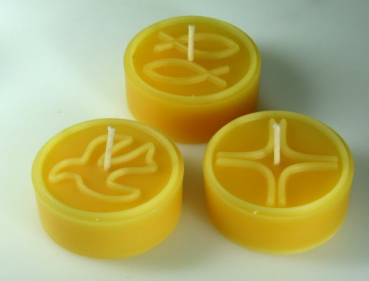 Tealight mould for 3 BIG-tealights (3 christian motives)